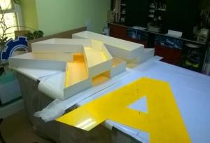 Акриловые фасады букв, оклеяные светорассеивающей пленкой серии 8500