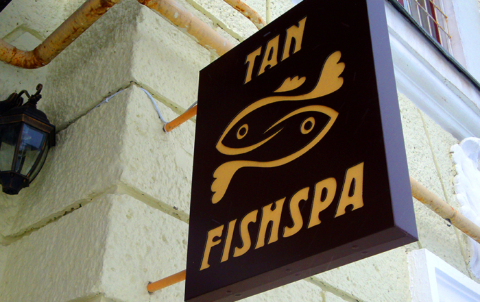 световая двухсторонняя вывеска. салон FishSpa
