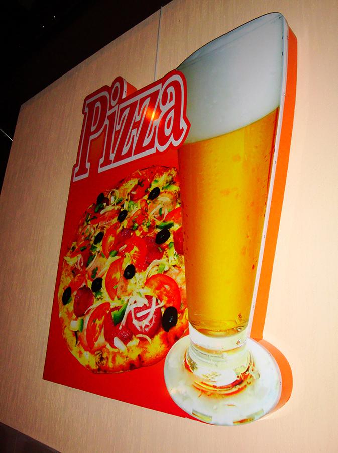 световая вывеска сложной формы. сеть пиццерий 100 пудов