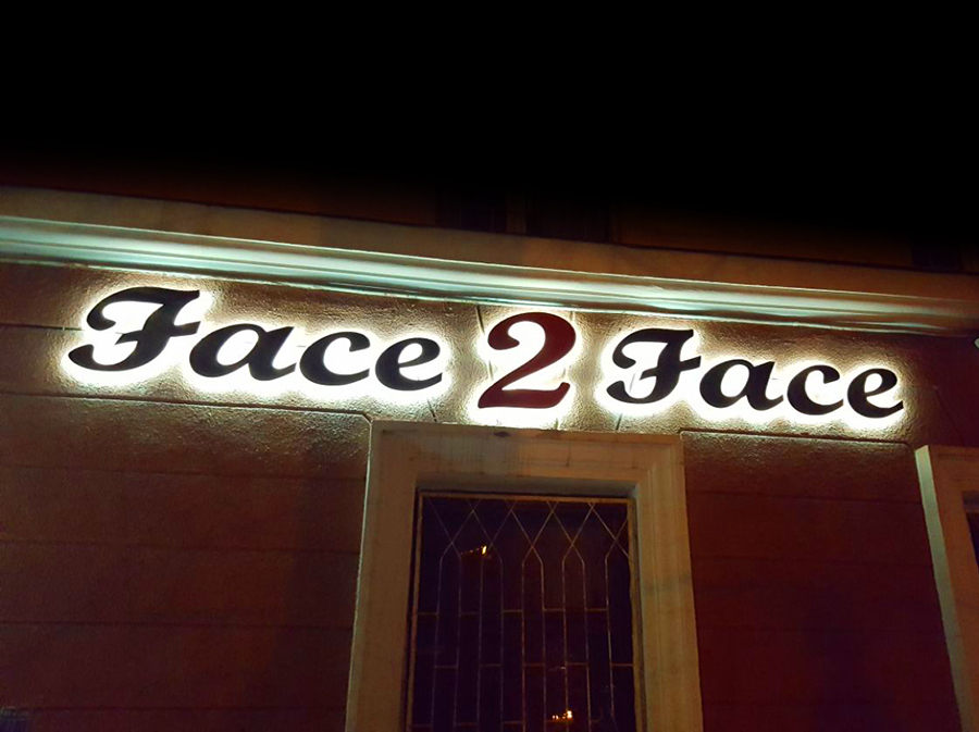 Световые буквы для кафе Face 2 face