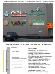 проект световой рекламы и размещение на фасаде световых букв Соробан