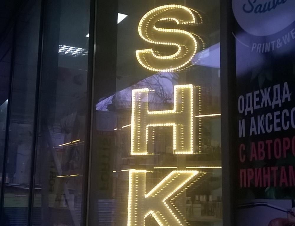 Буквы с открытыми светодиодами для салона Душка