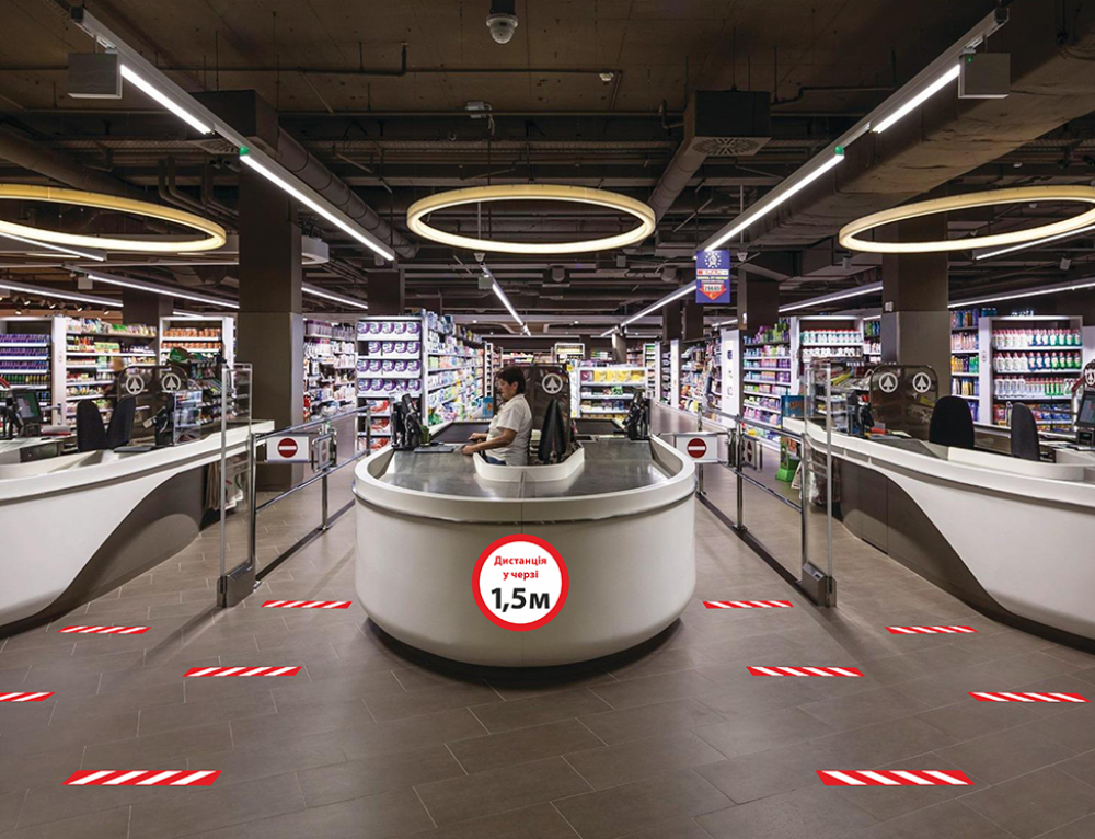 напольная навигация для супермаркетов и аптек при карантине